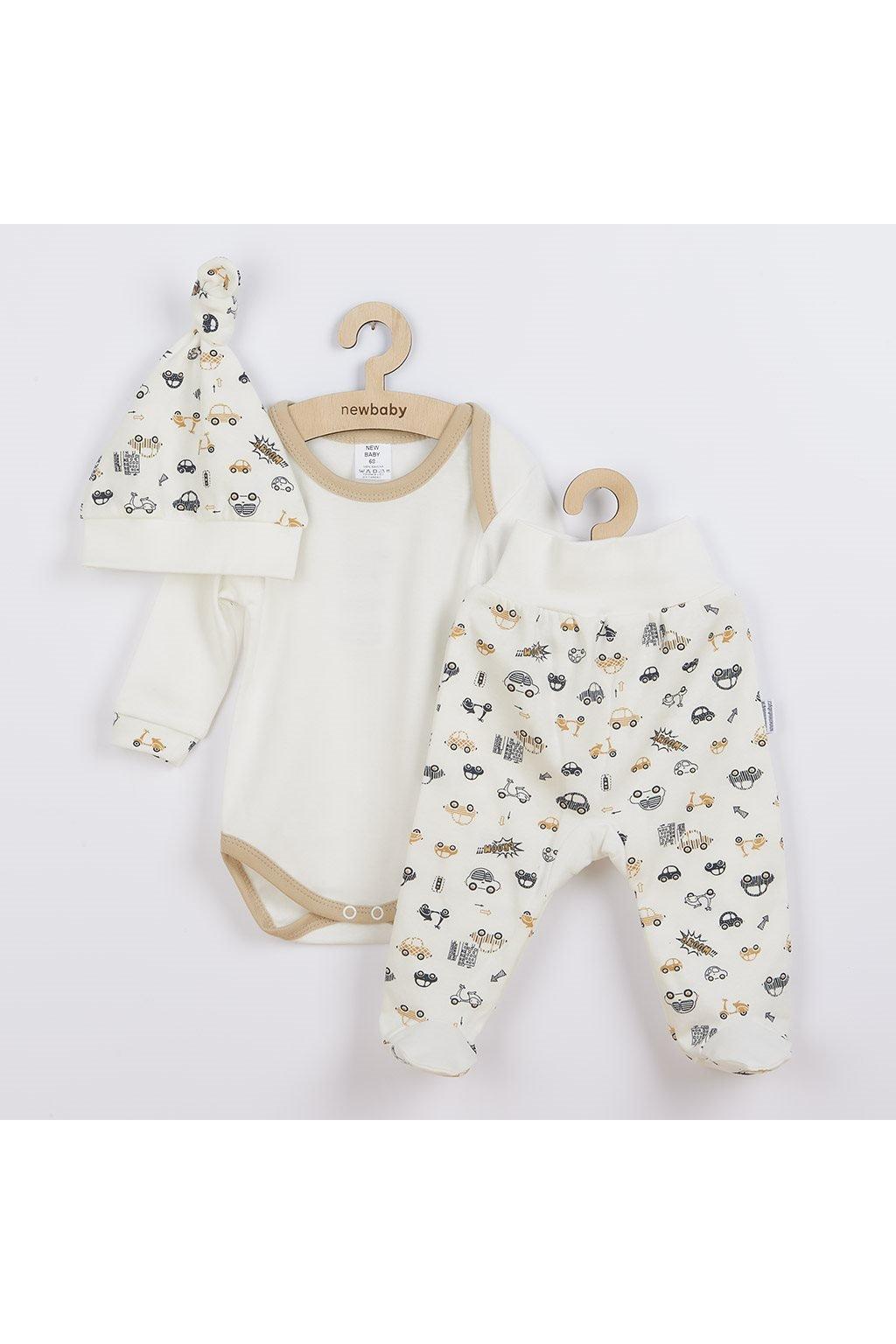3-dielna bavlnená dojčenská súprava New Baby Cars