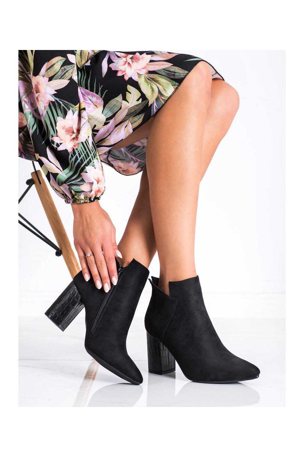 Čierne dámske topánky Vinceza kod HX22-16178B