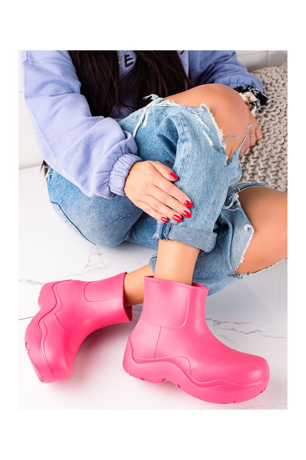 Ružové dámske gumáky Trendi kod DC16ROSE