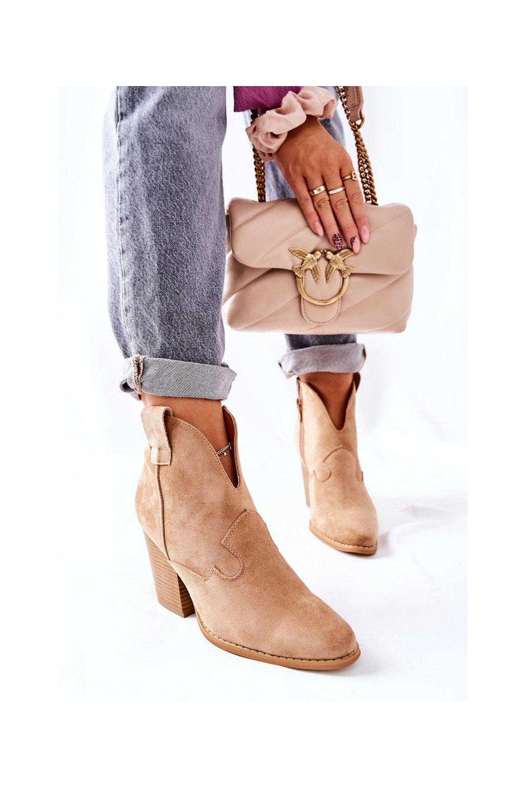 Členkové topánky na podpätku farba hnedá NJSK A5607-63 KHAKI