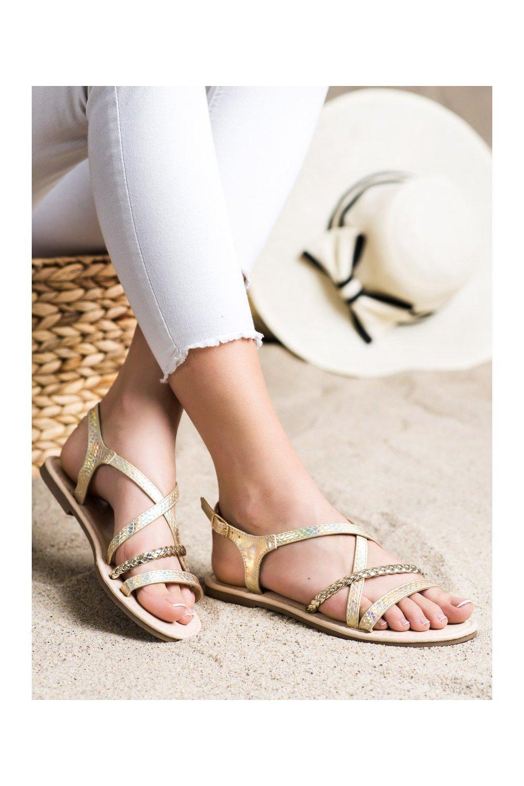 Žlté dámske sandále Vinceza kod YQE21-17136GO