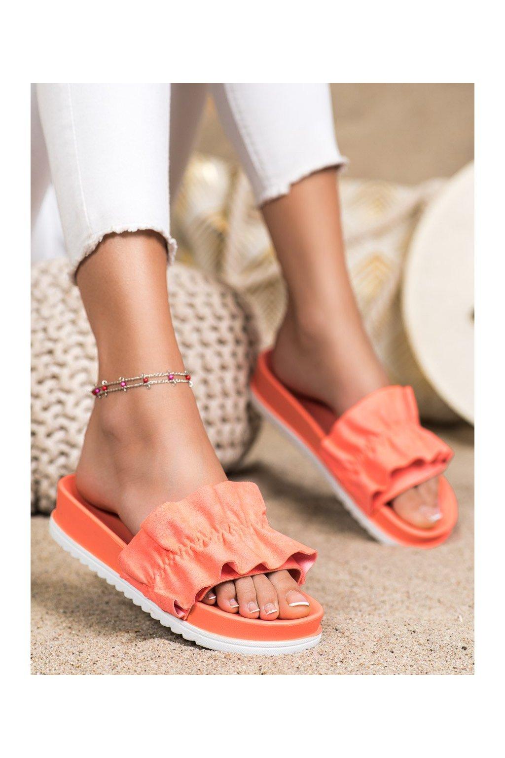 Oranžové dámske šľapky Trendi kod 7-2066WAT/R