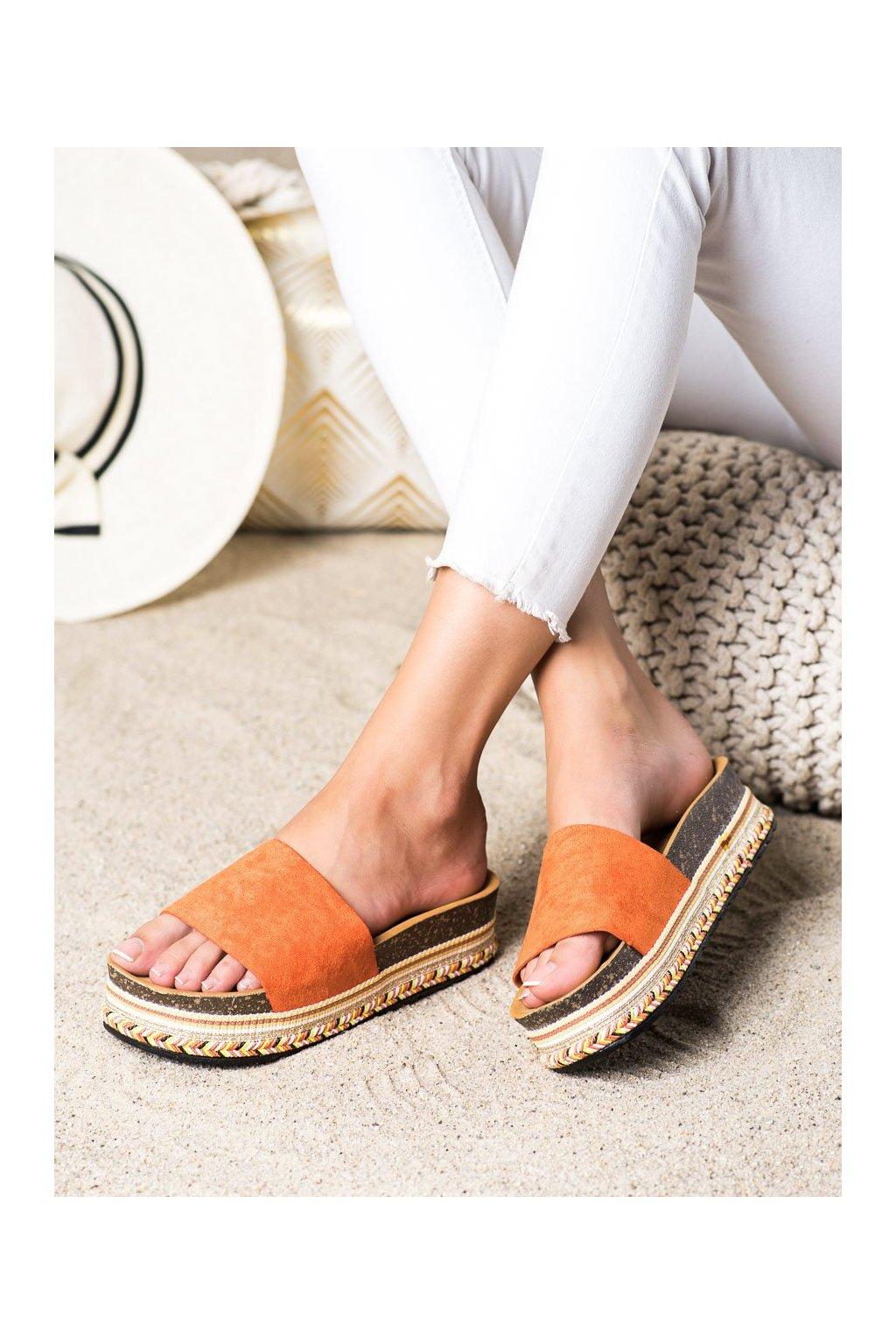 Oranžové dámske šľapky Trendi kod LS015OR