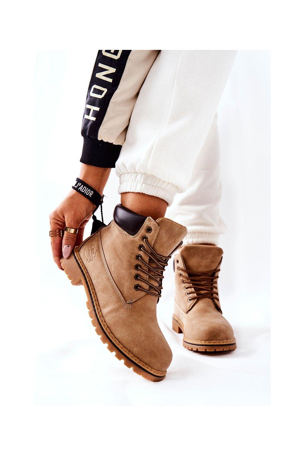 Členkové topánky na podpätku farba hnedá kód obuvi B175-7 L.CAMEL/D.BROWN