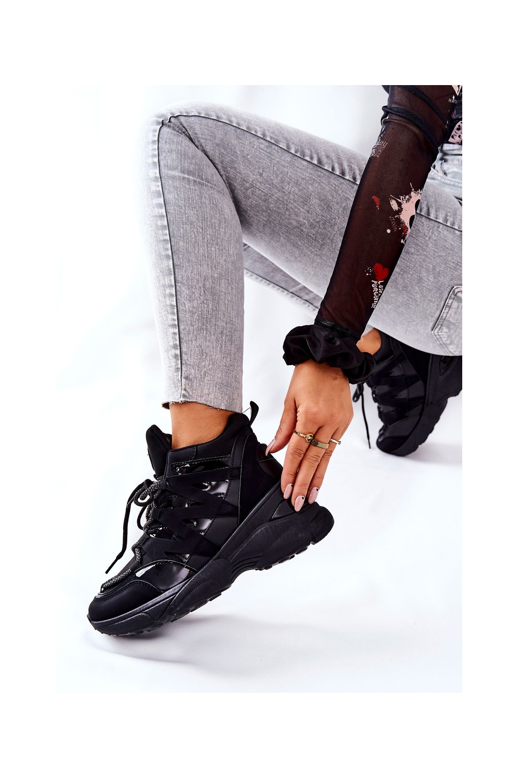 Dámske tenisky farba čierna kód obuvi 21-12W003 BLK