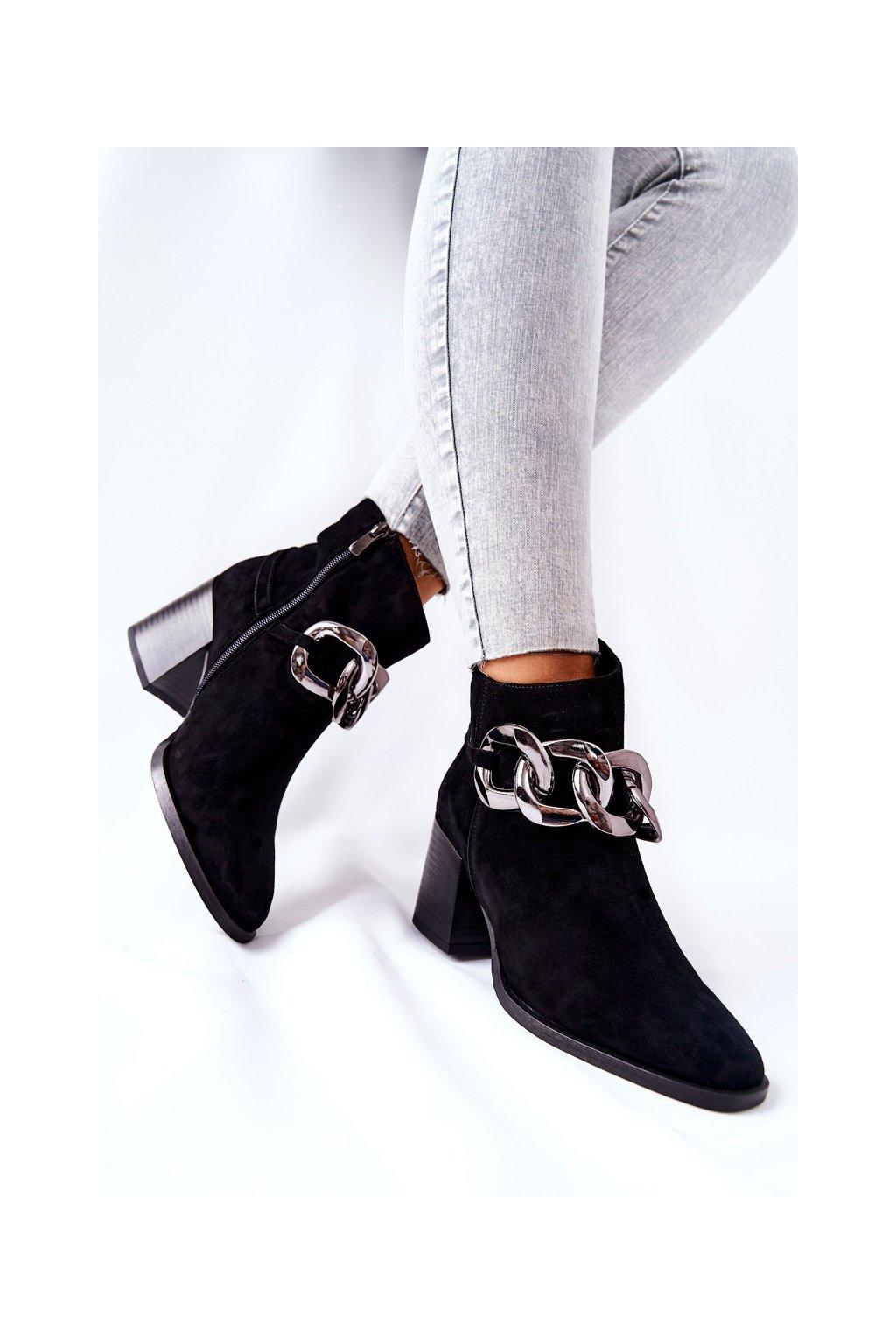 Členkové topánky na podpätku farba čierna kód obuvi 2345 300 BLK