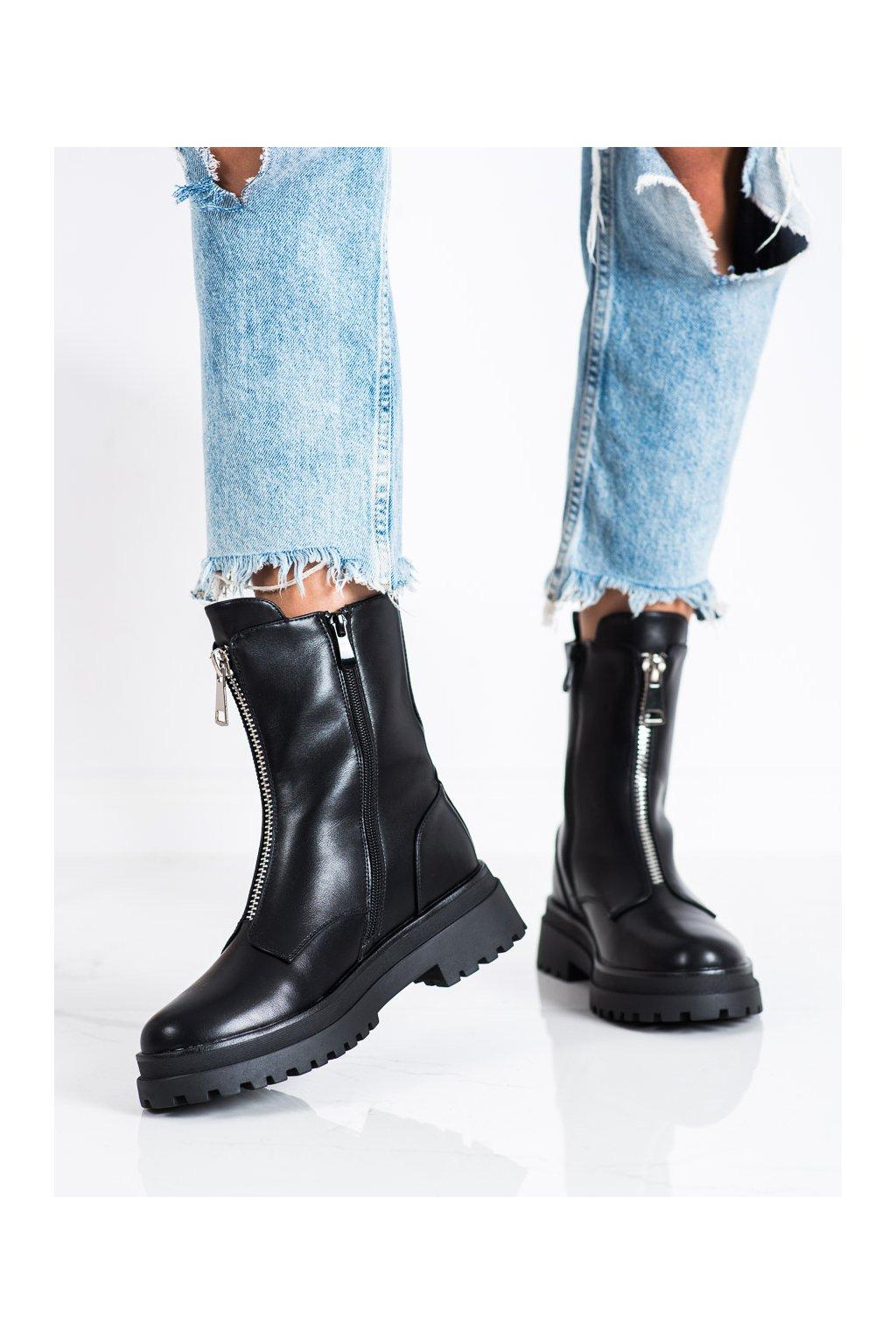 Čierne dámske topánky Vinceza kod HX22-16294B