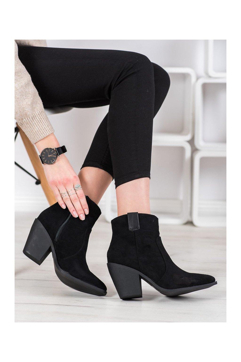 Čierne dámske topánky Small swan kod OM291B