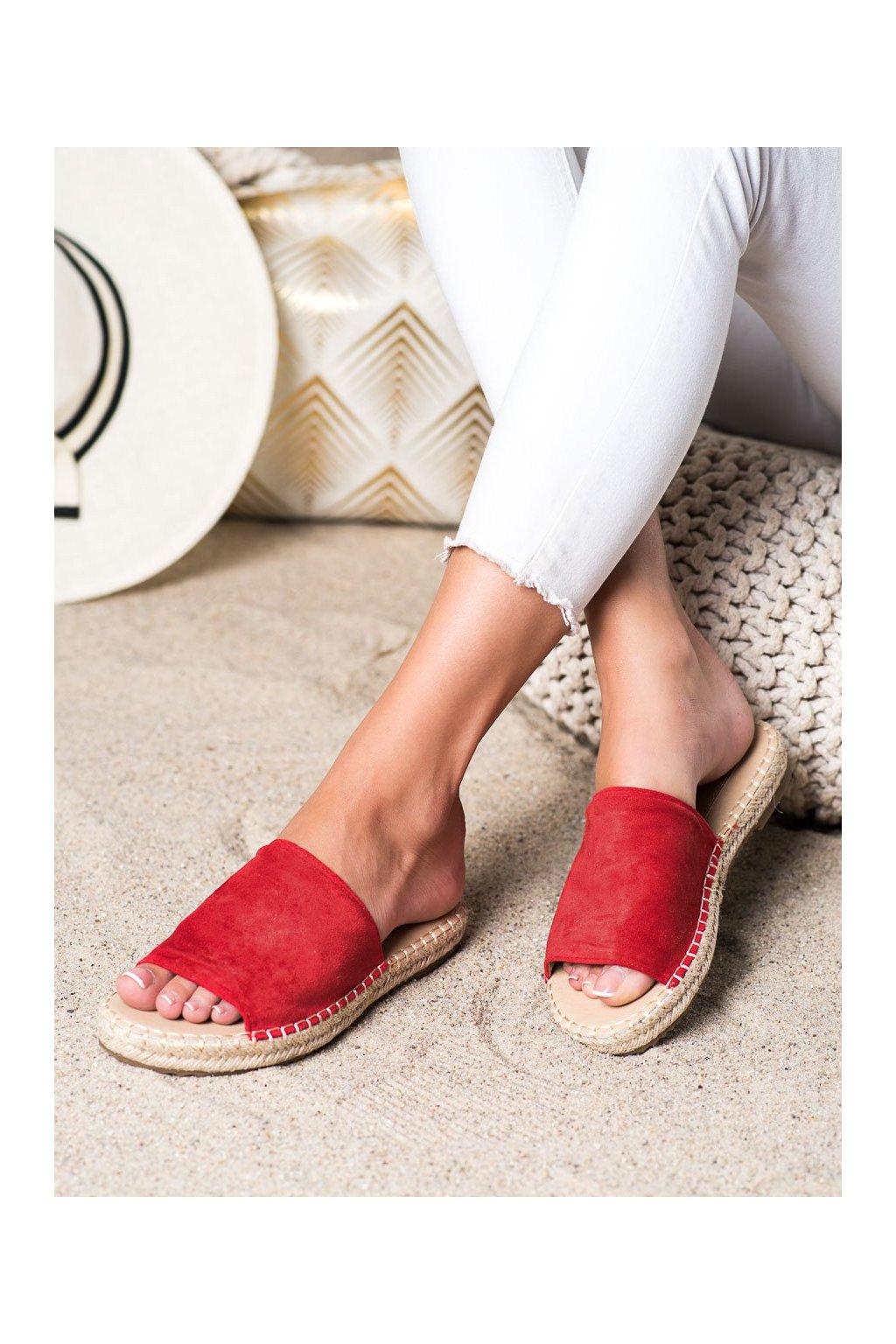 Červené dámske šľapky Trendi kod LX203R