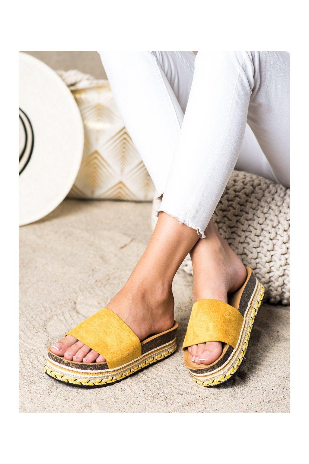 Žlté dámske šľapky Trendi kod LS015Y