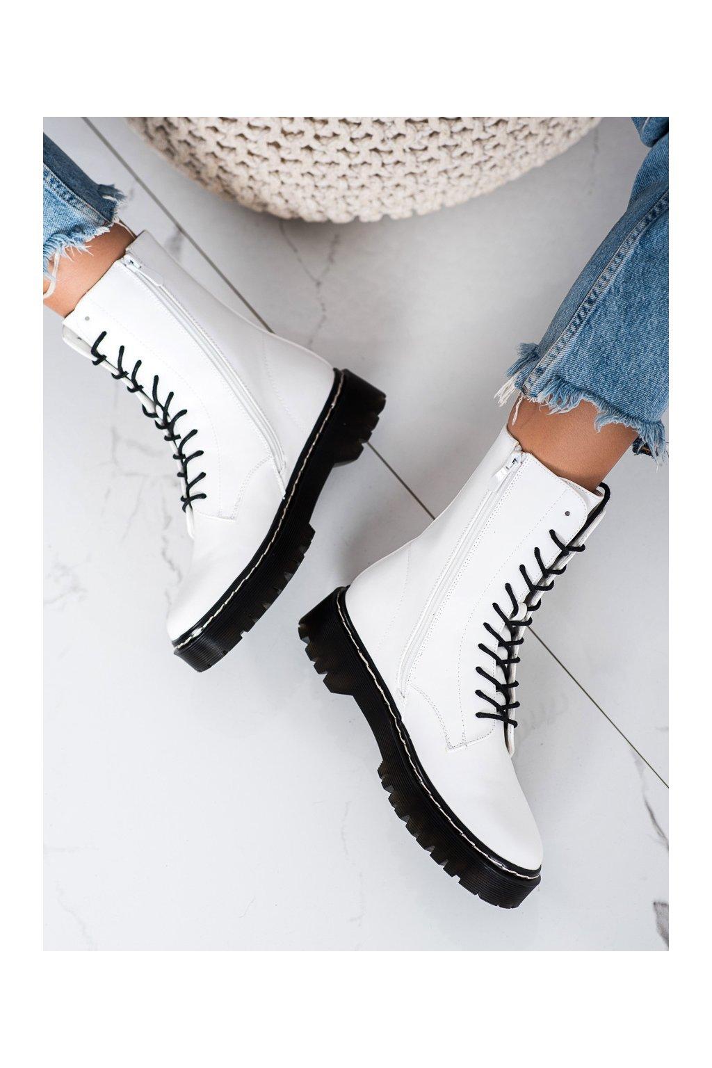 Biele dámske topánky S. barski kod 201-67W