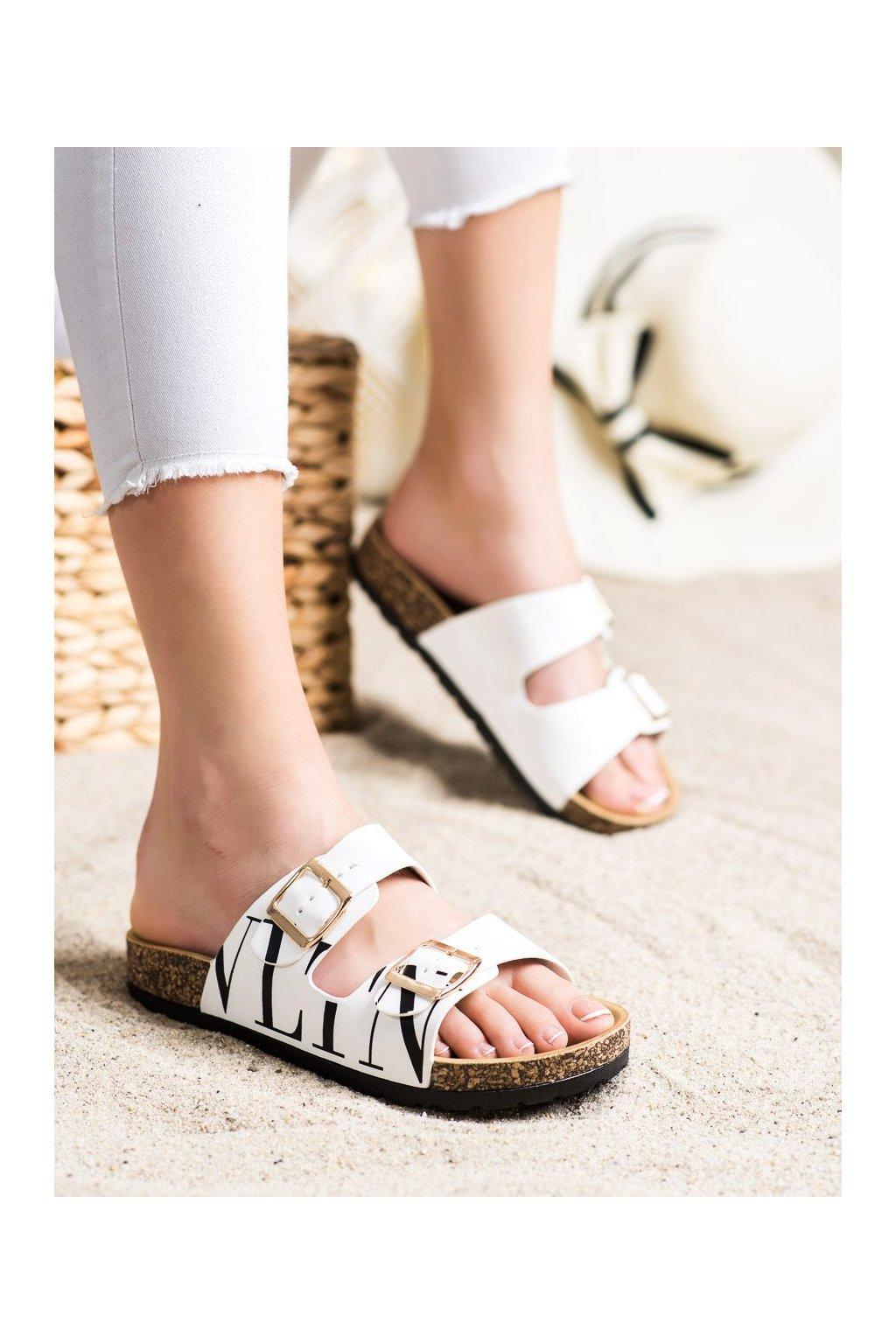 Biele dámske šľapky Trendi kod BG71W