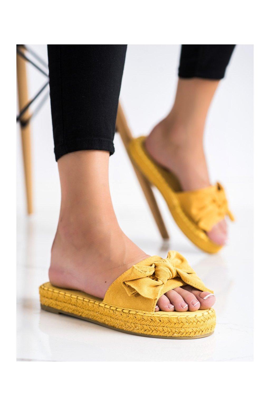 Žlté dámske šľapky Coura kod 266Y