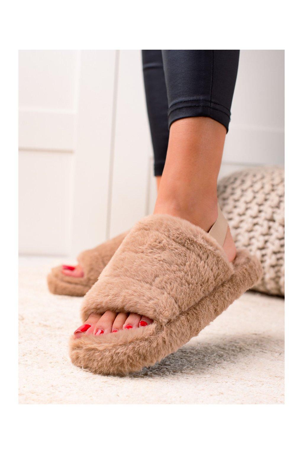 Hnedé dámske topánky na doma Trendi kod N-91KH