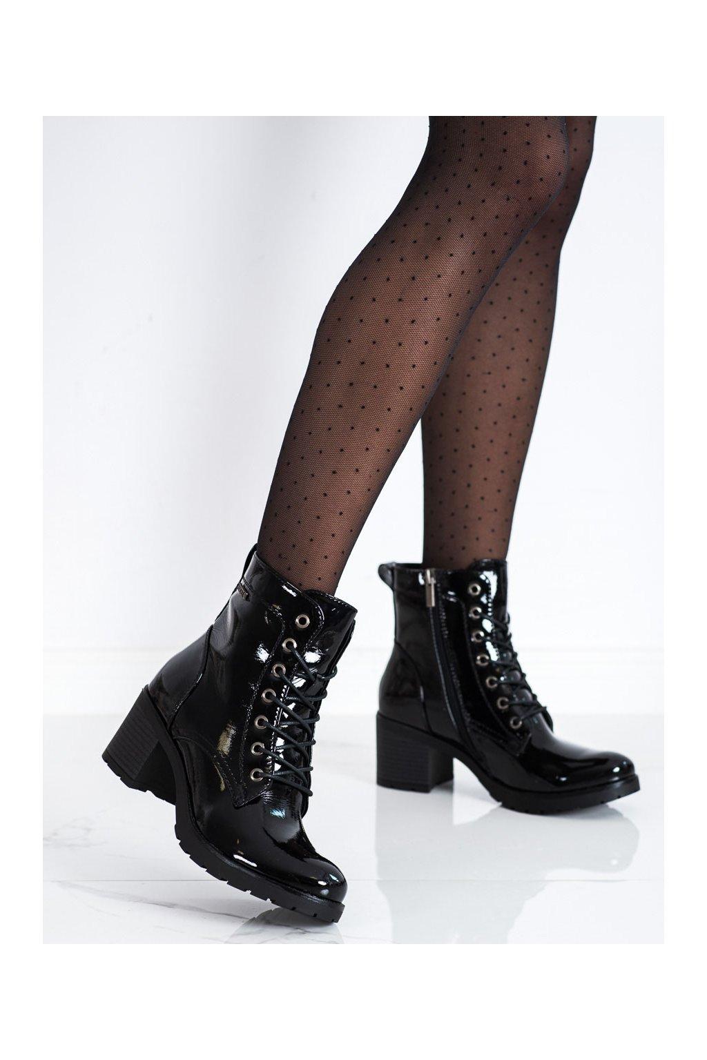 Čierne dámske topánky Vinceza kod XY22-10643B/B/B