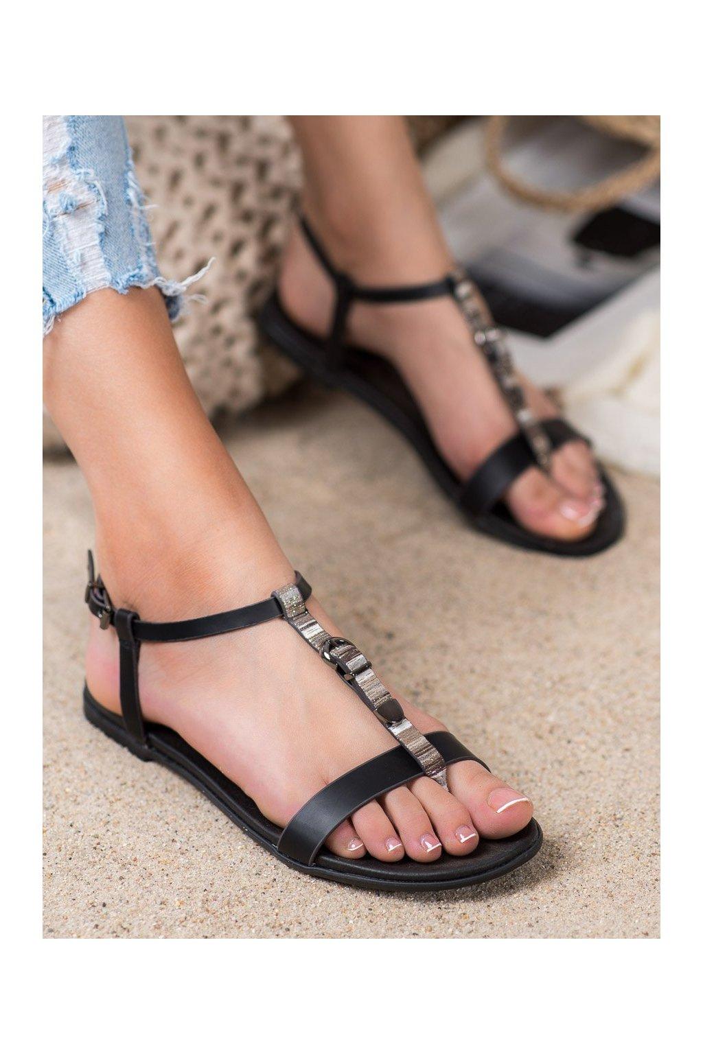 Čierne dámske sandále Vinceza kod MOM20-30301B