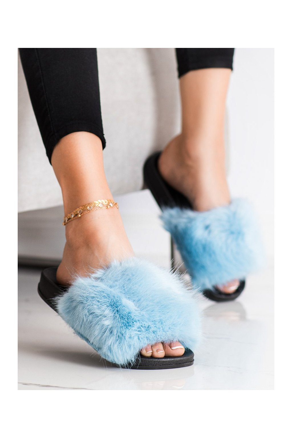 Fialové dámske topánky na doma Trendi kod CK107BL