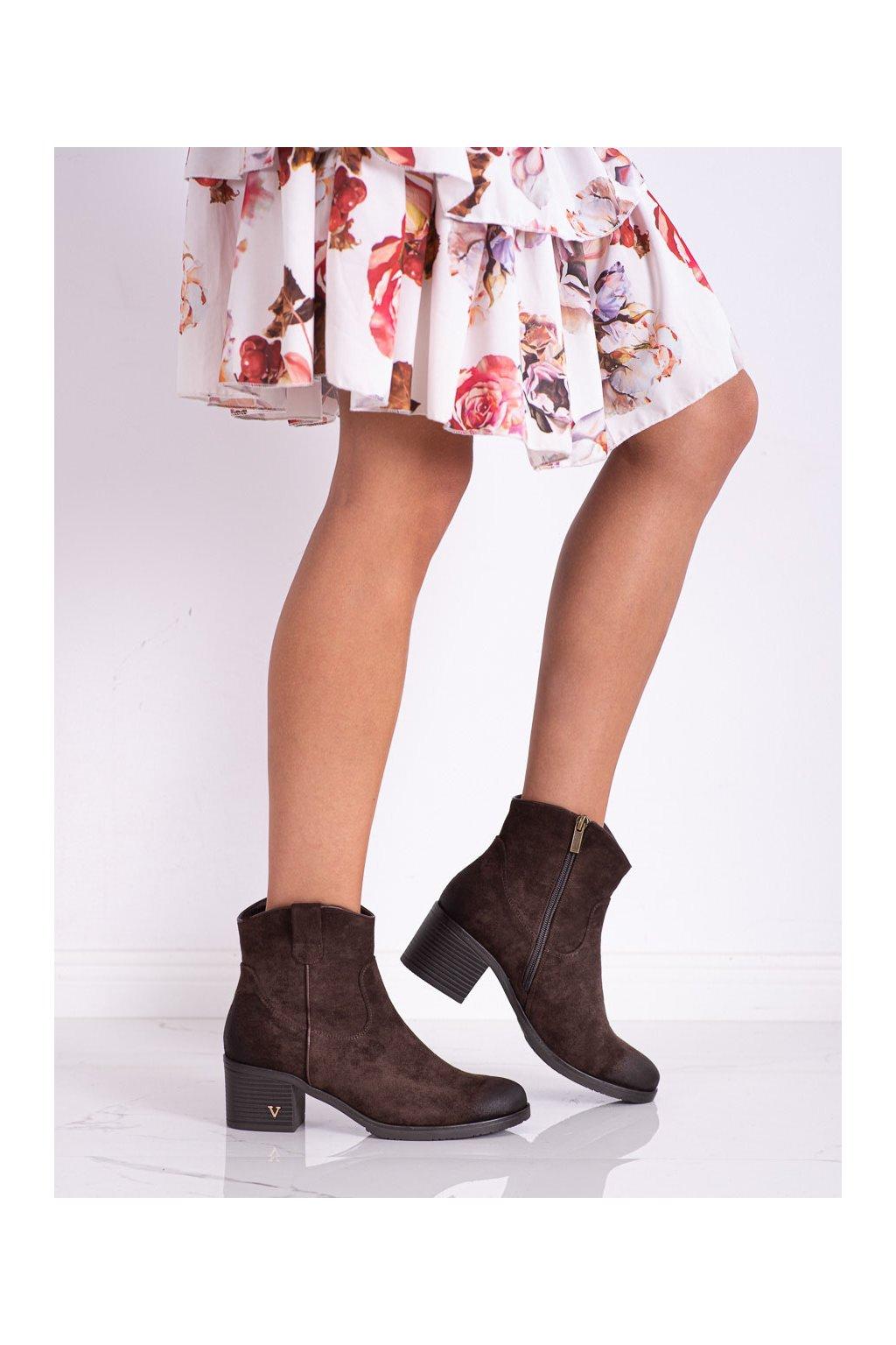 Hnedé dámske topánky Vinceza kod XY22-10629BR
