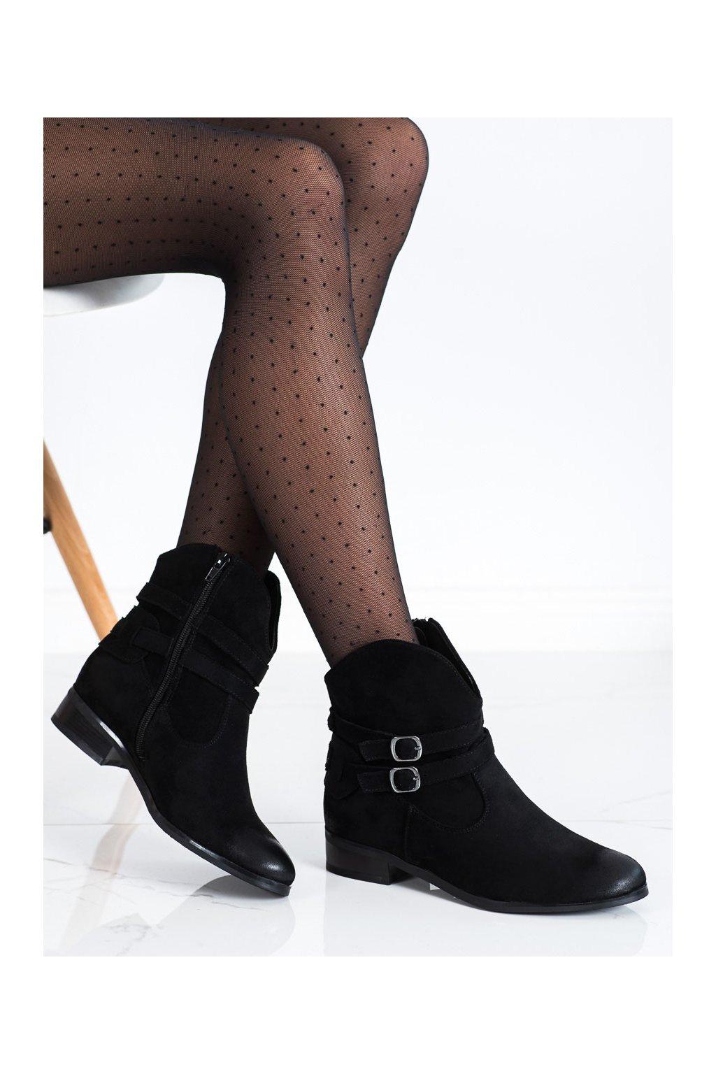 Čierne dámske topánky Vinceza kod XY22-10616B