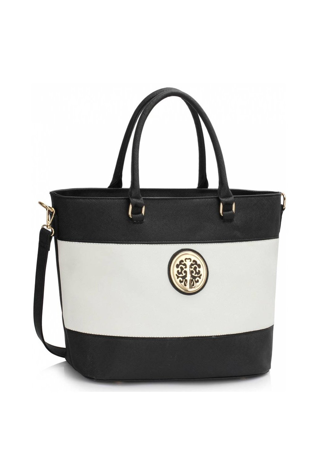 Shopper kabelka do ruky Arline A čierna / biela LS00406A