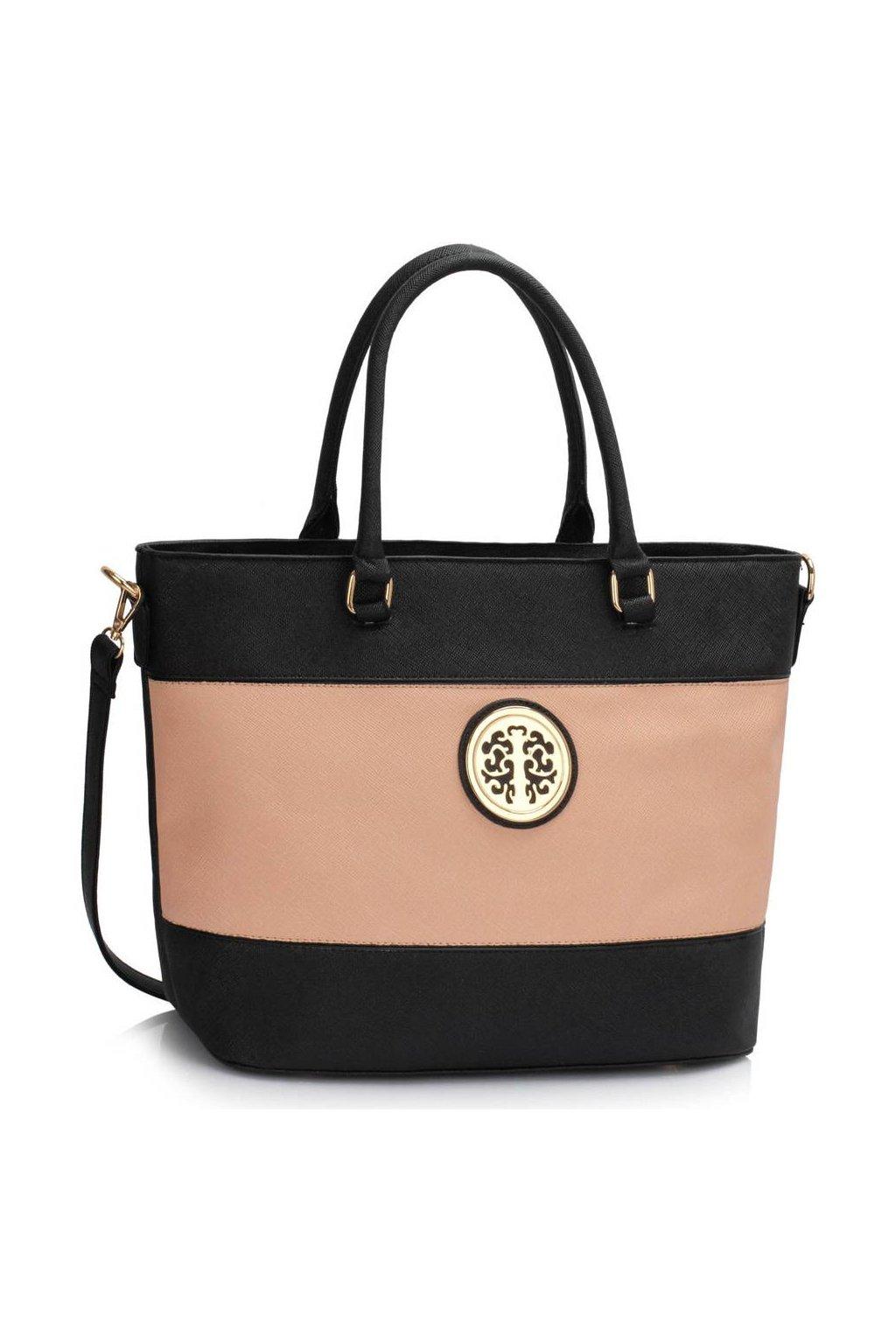 Shopper kabelka do ruky Arline A čierna / telová LS00406A