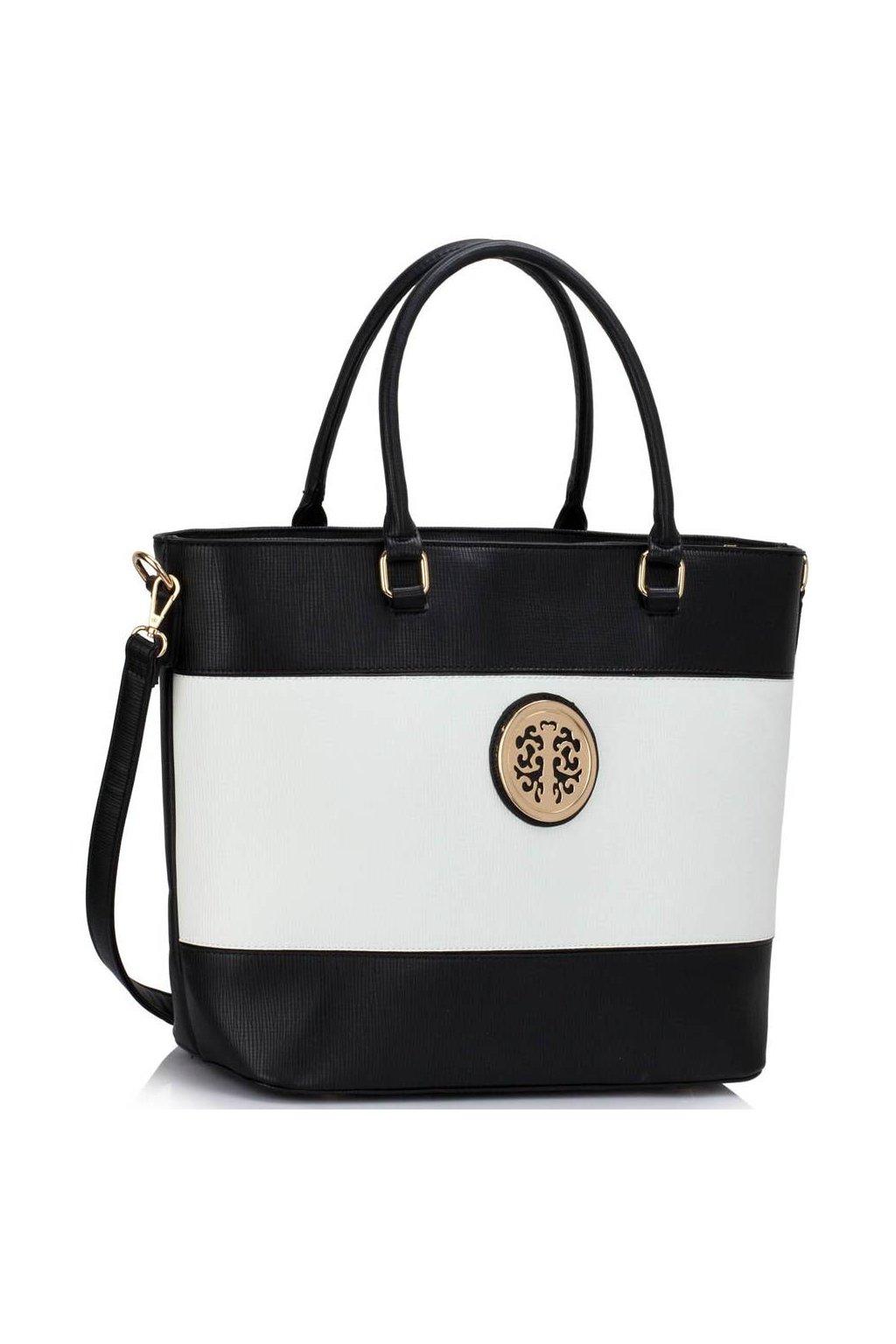 Shopper kabelka do ruky Arline čierna / biela LS00406
