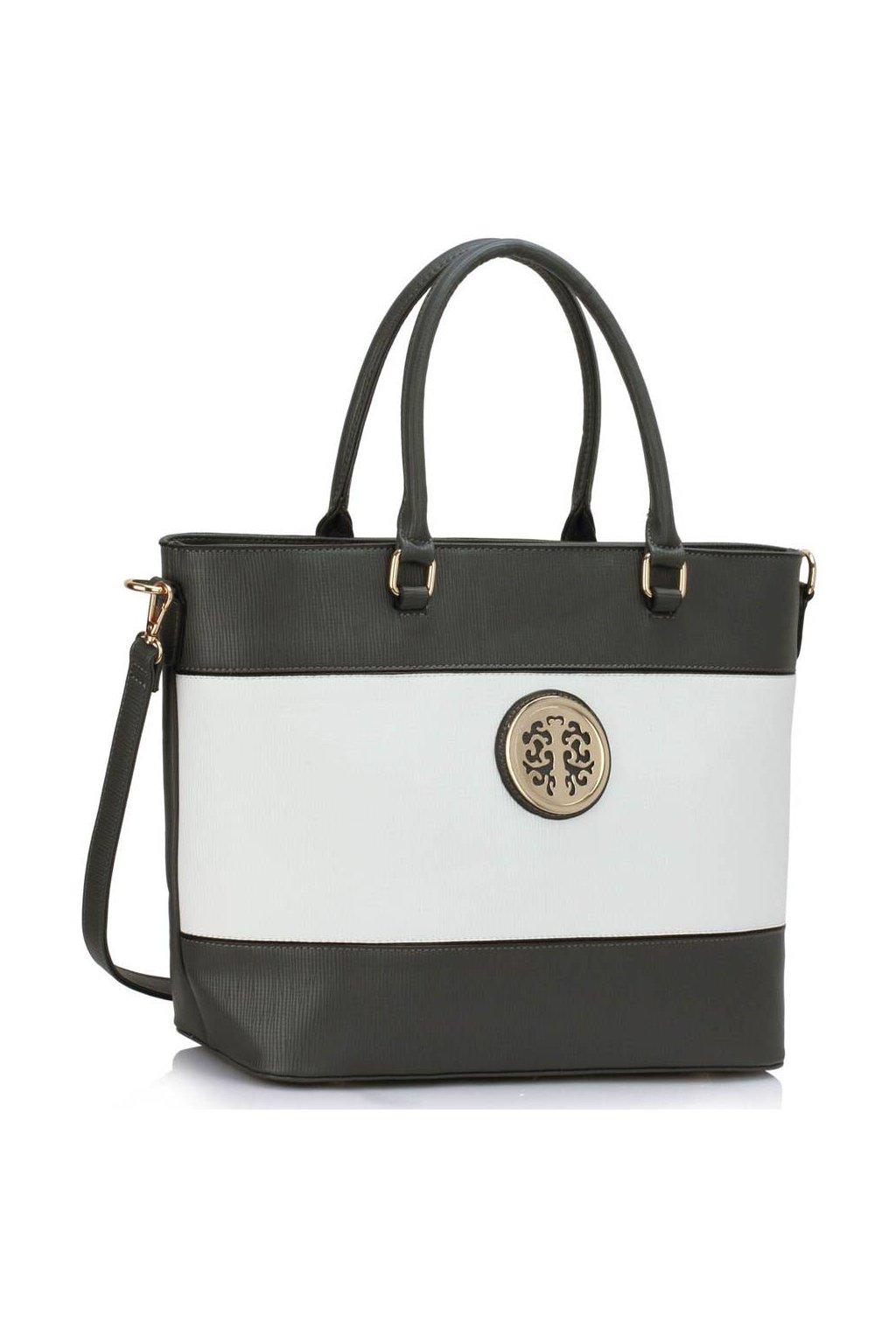 Shopper kabelka do ruky Arline sivá / biela LS00406