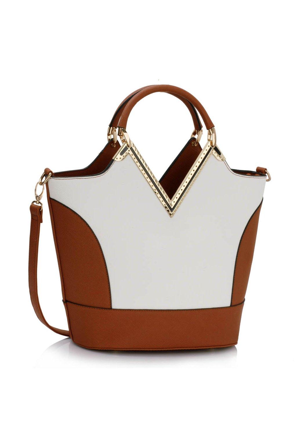 Shopper kabelka do ruky Bertie A hnedá   biela LS00379A 222e8aeefe4