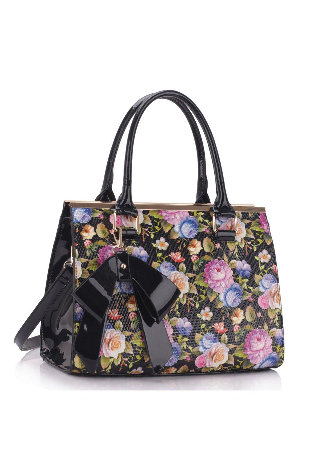 337943731 Trendová kvetinová kabelka do ruky Abbie čierna