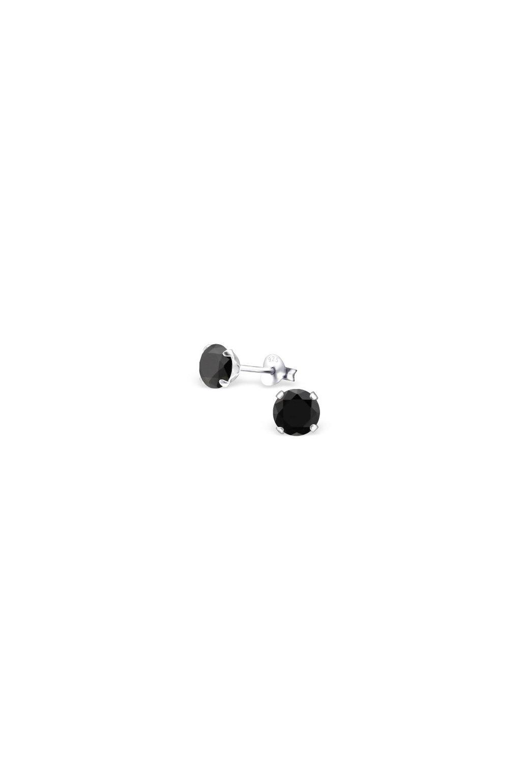 Strieborné náušnice bodky - 925 cz čierny kryštál MS5056