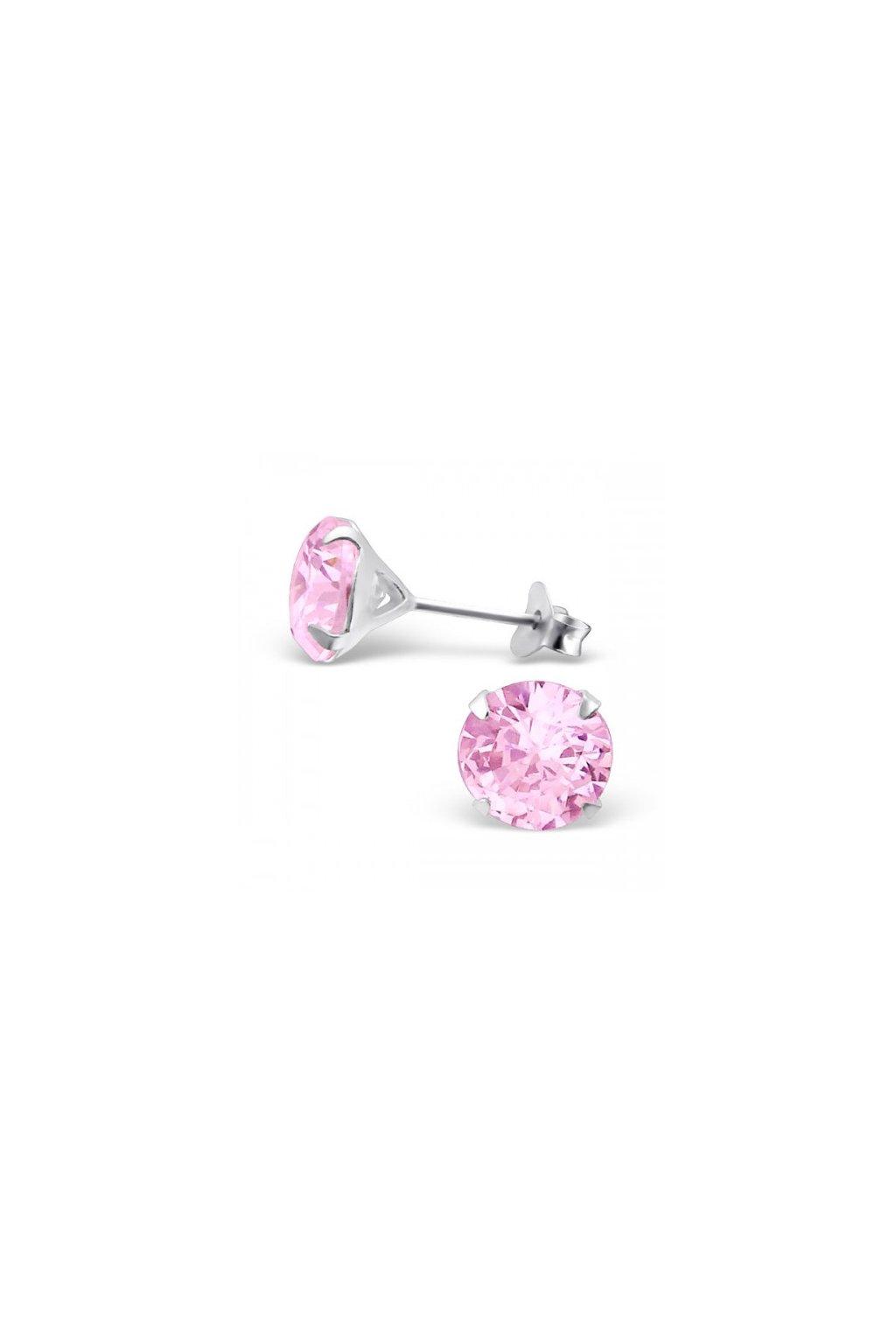 Strieborné náušnice bodky - 925 okrúhly ružový kryštál MS1020-4
