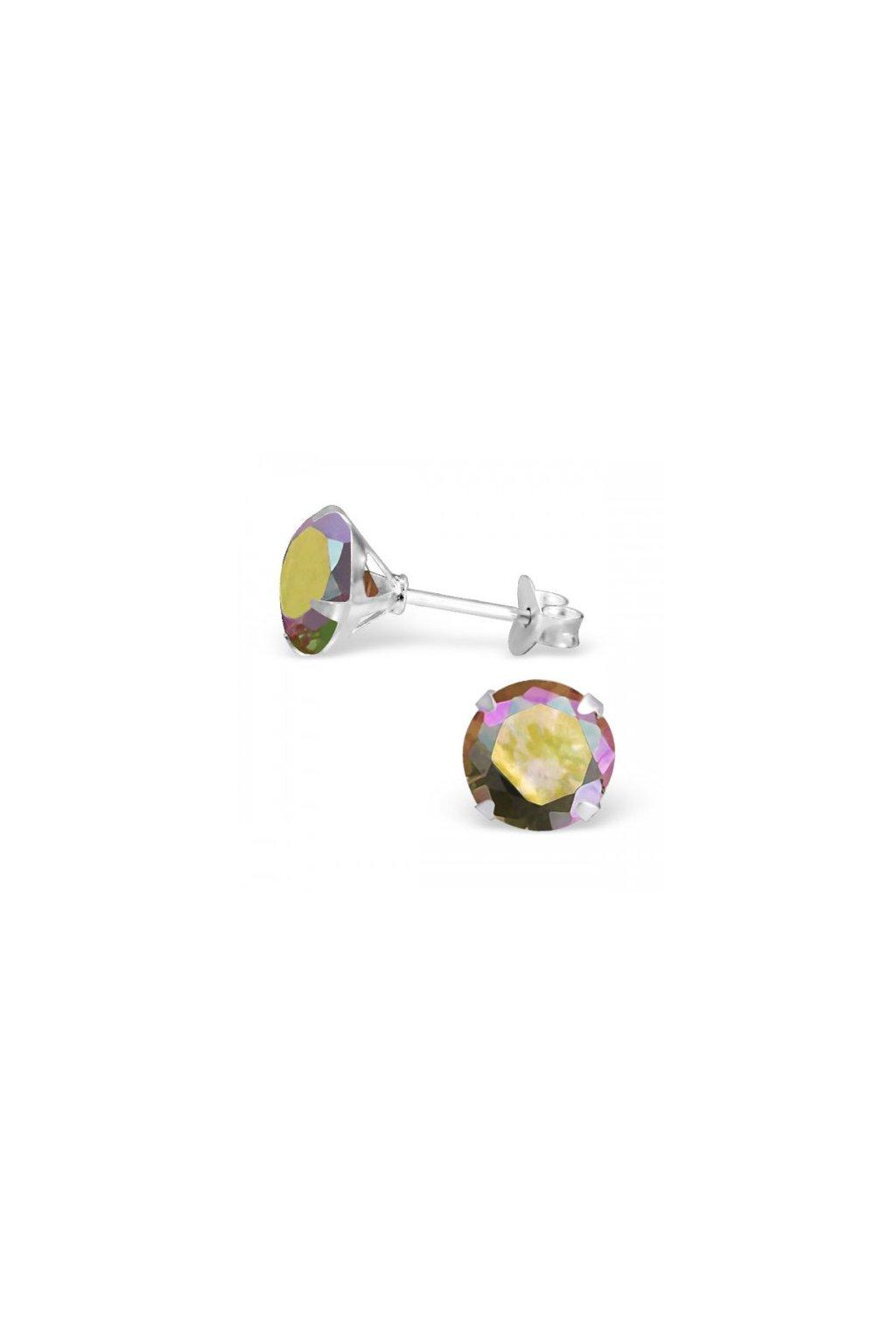 Strieborné náušnice bodky - 925 okrúhly šampanské MS1020-8