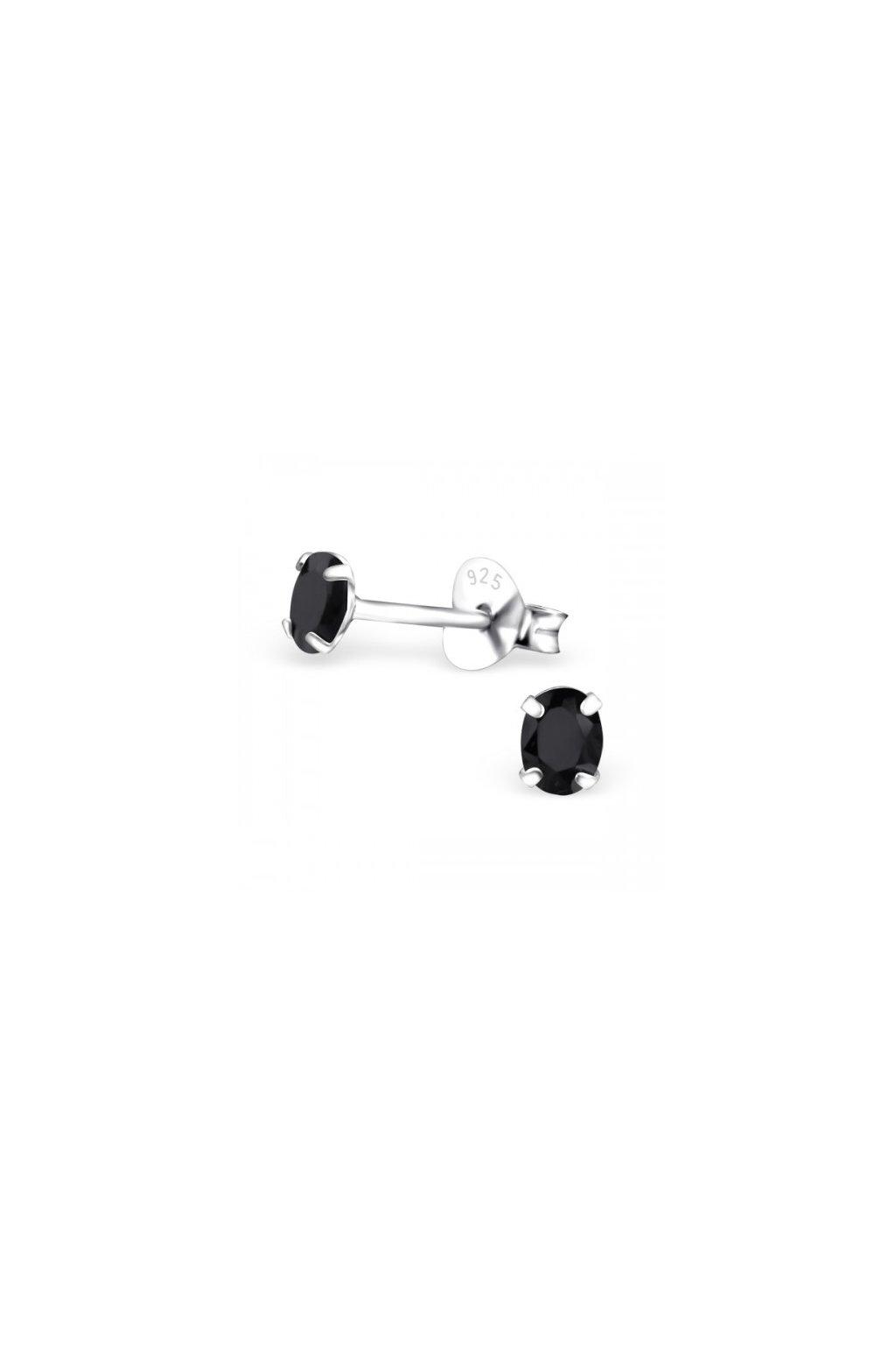 Strieborné náušnice bodky - 925 oválny cz granát MS9637