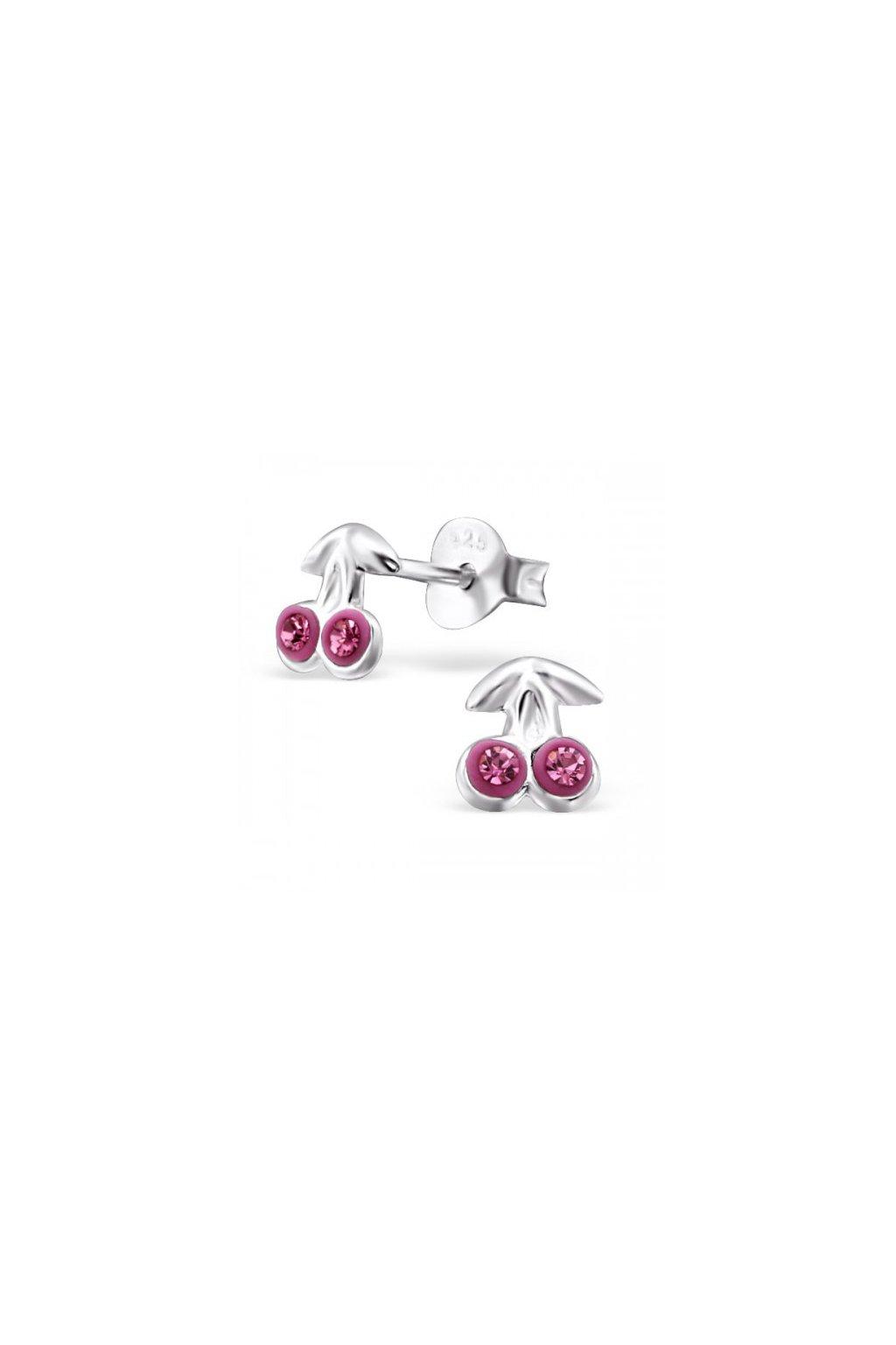 Strieborné náušnice čerešne - 925 cz ružový siam MS21899