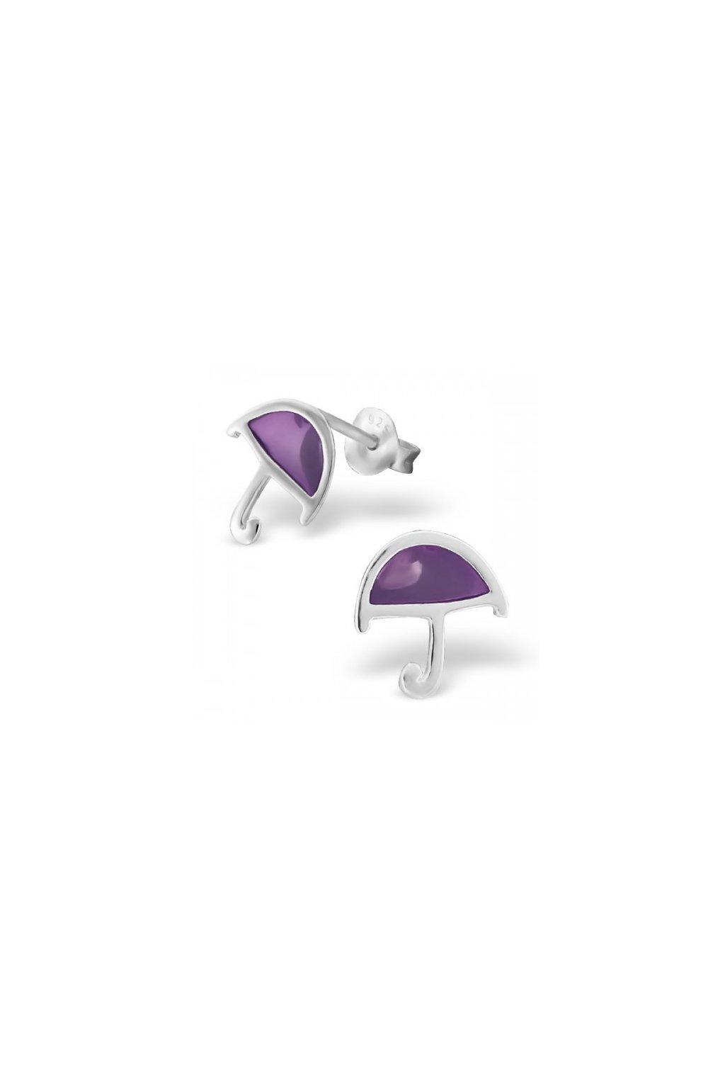Strieborné náušnice dáždniky- 925 fialová epoxidová farba MS16185