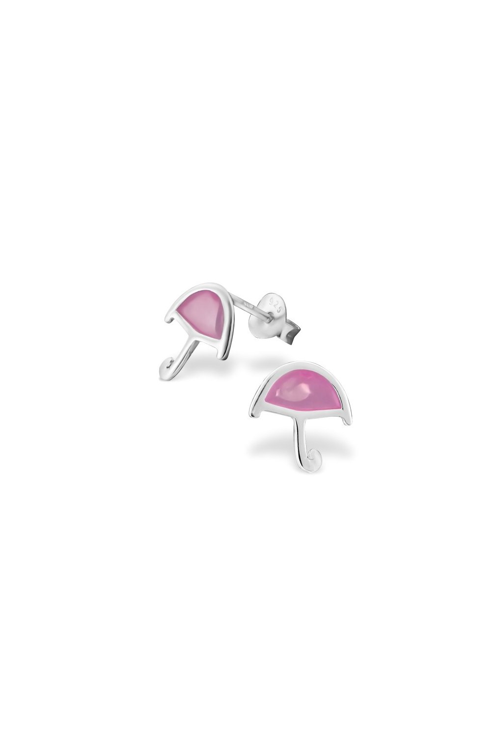 Strieborné náušnice dáždniky- 925 ružová epoxidová farba MS16268