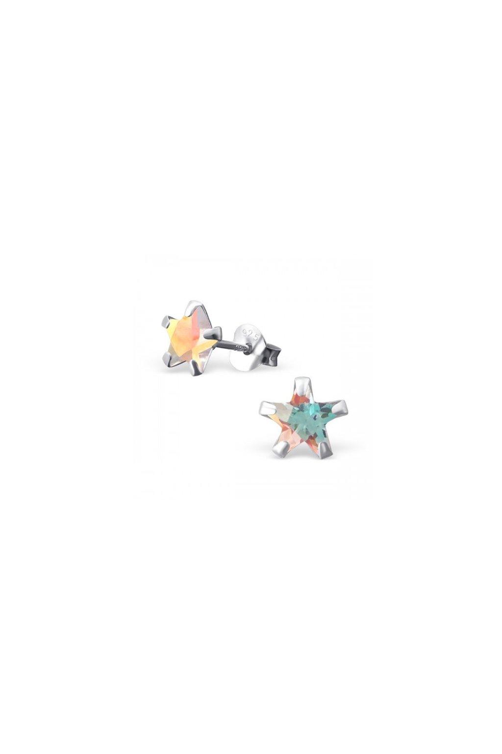 Strieborné náušnice hviezdy - 925 ab cz kryštál MS9526