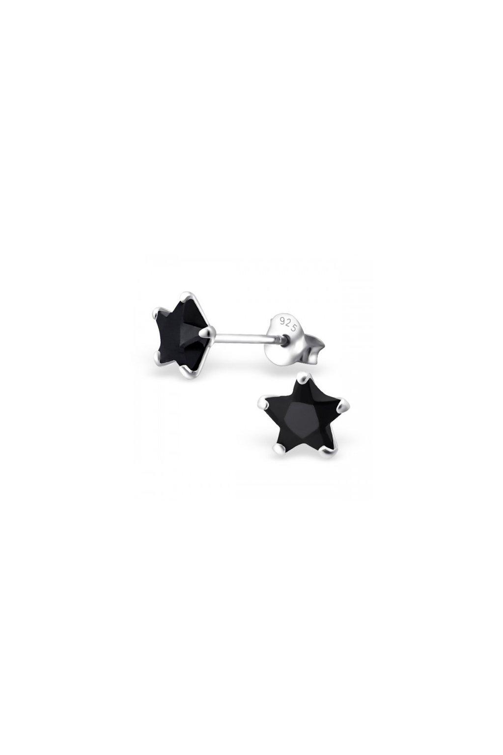 Strieborné náušnice hviezdy - 925 cz čierny kryštál MS9526