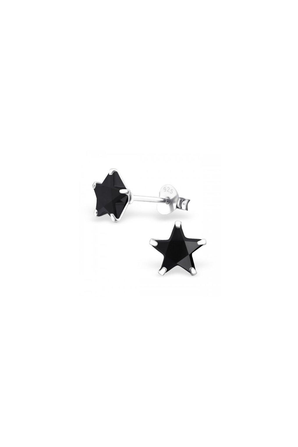 Strieborné náušnice hviezdy - 925 cz čierny kryštál MS9527