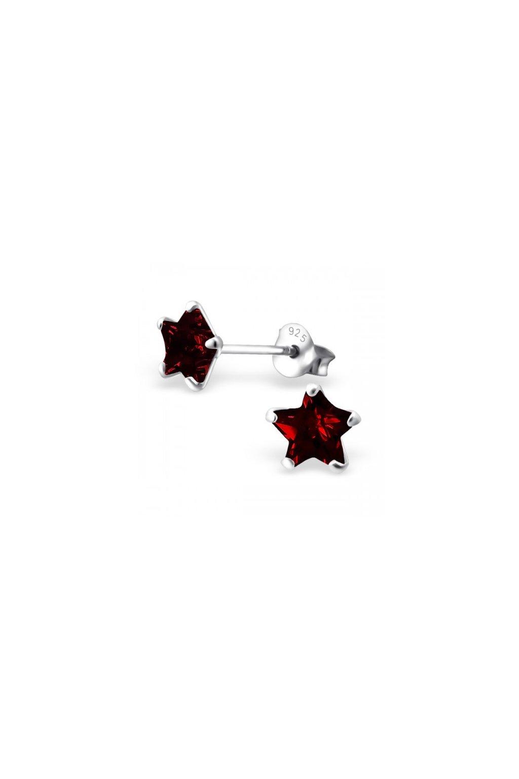 Strieborné náušnice hviezdy - 925 cz kryštál granát MS9526