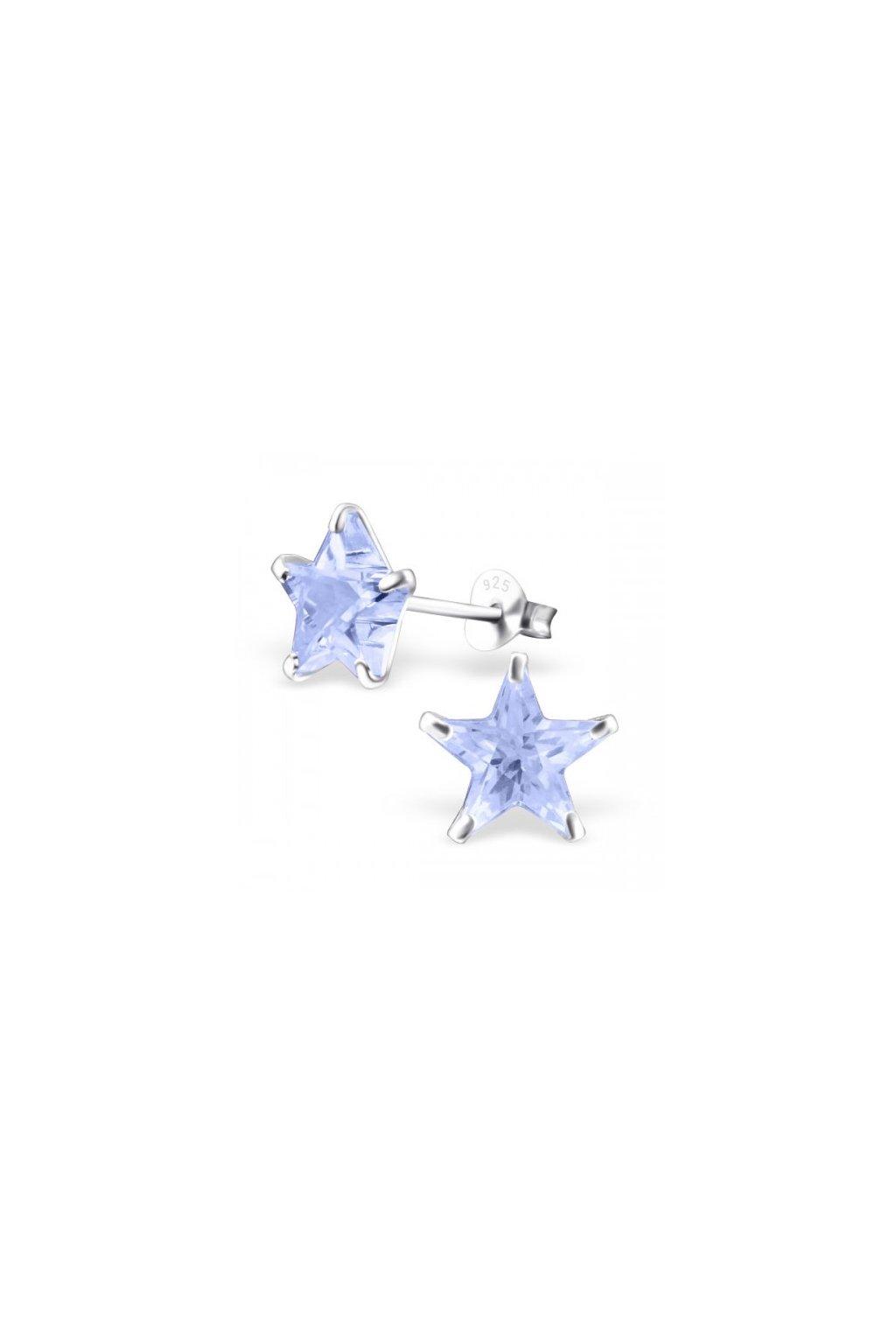Strieborné náušnice hviezdy - 925 cz kryštál levander MS7125