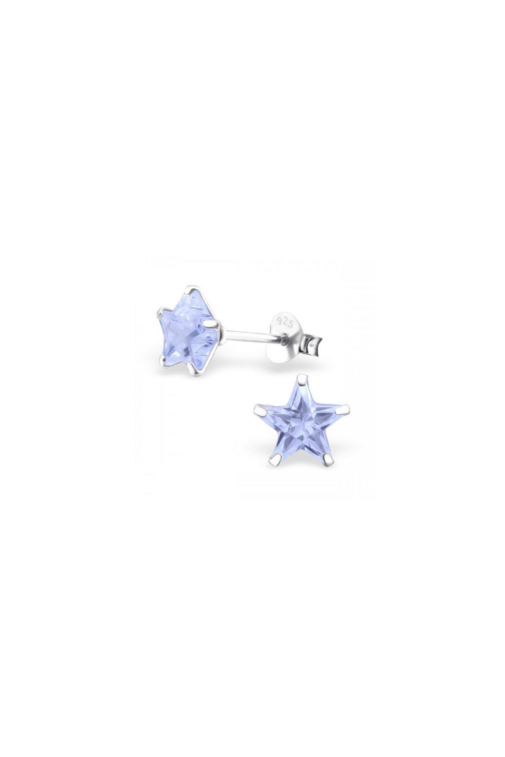Strieborné náušnice hviezdy - 925 cz kryštál levander MS9527