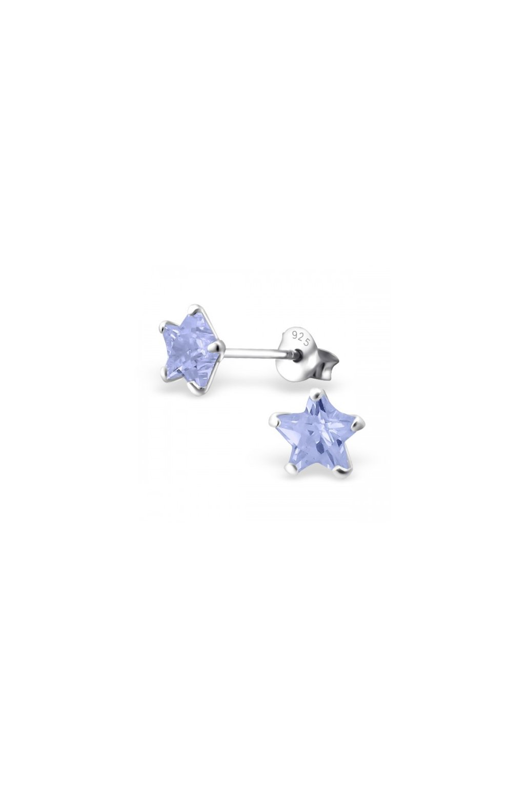 Strieborné náušnice hviezdy - 925 cz levander MS9526