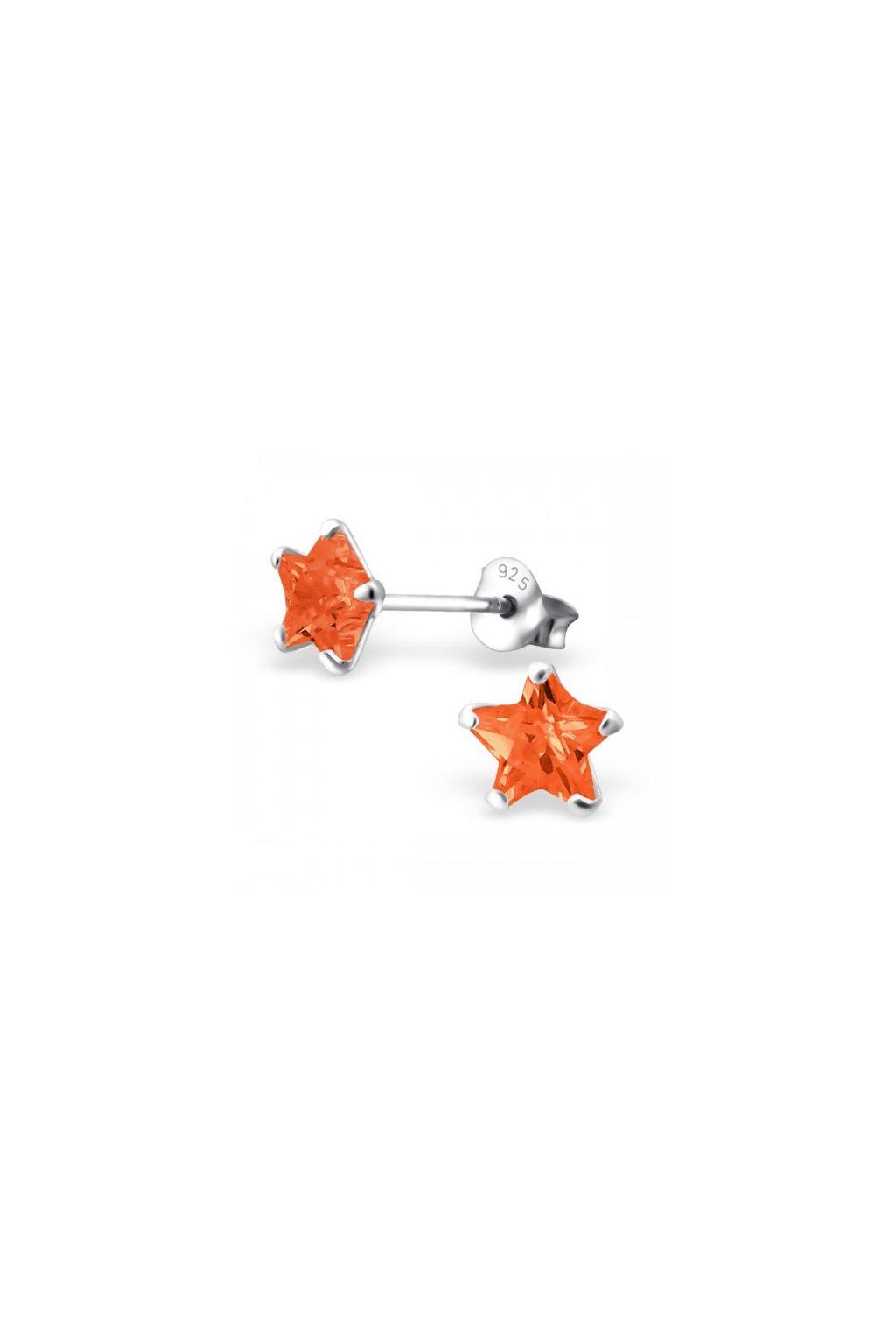 Strieborné náušnice hviezdy - 925 cz oranžový kryštál MS9526