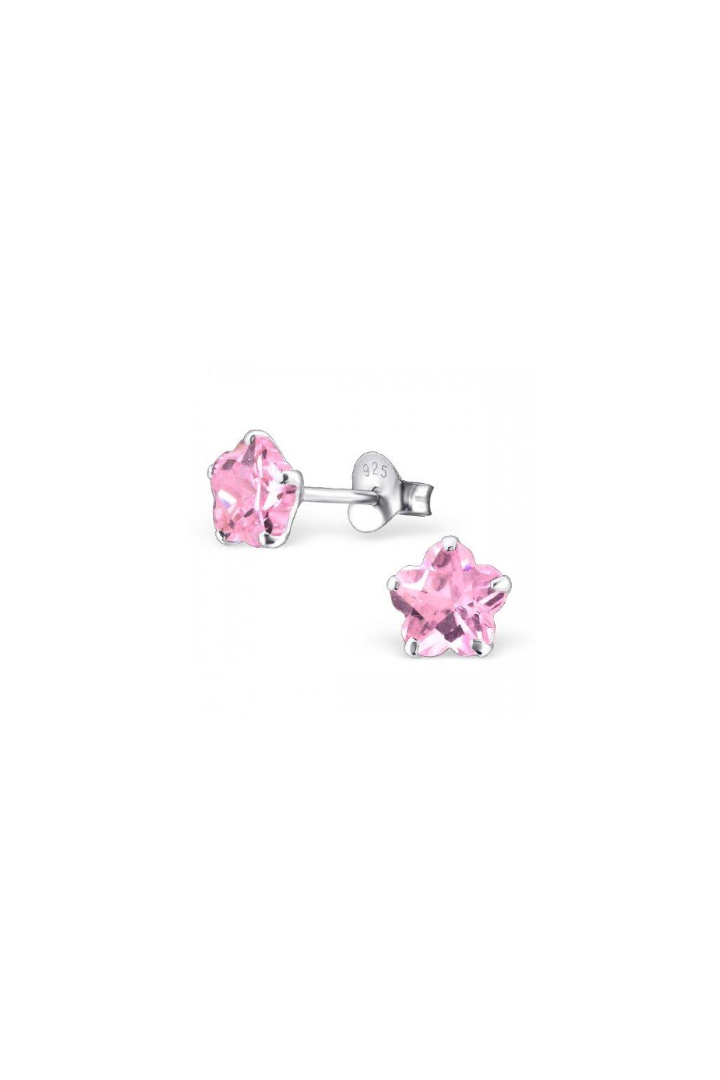 Strieborné náušnice hviezdy - 925 cz ružový kryštál MS22030