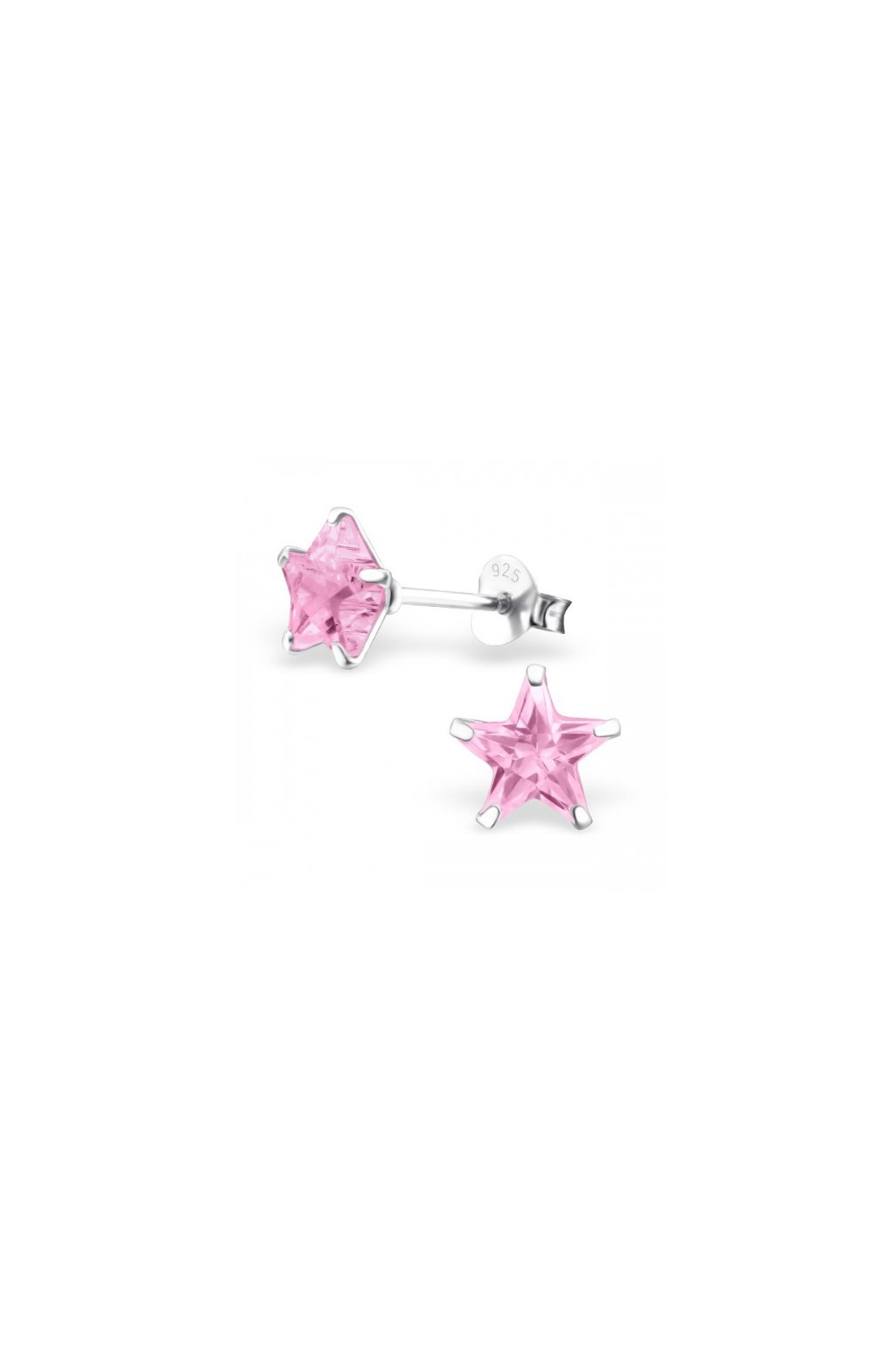 Strieborné náušnice hviezdy - 925 cz ružový kryštál MS9527