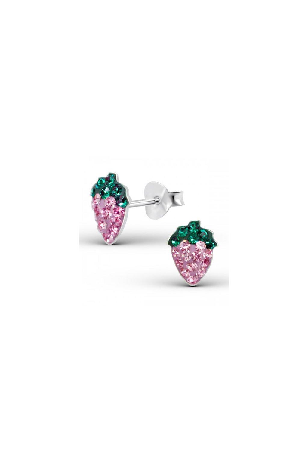 Strieborné náušnice jahody - 925 cz zeleno fialový kryštál MS15378