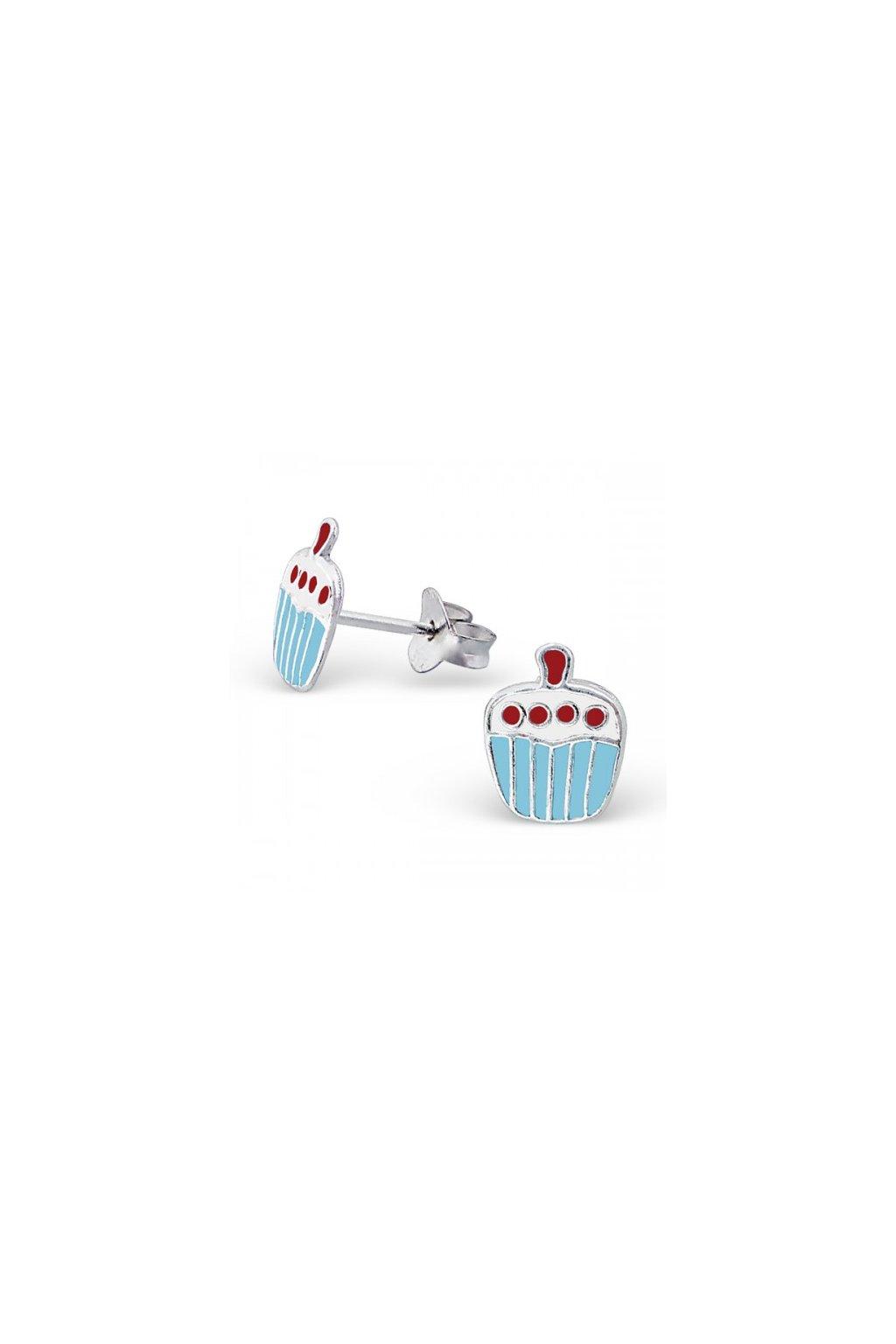Strieborné náušnice koláč - 925 farebné MS3674