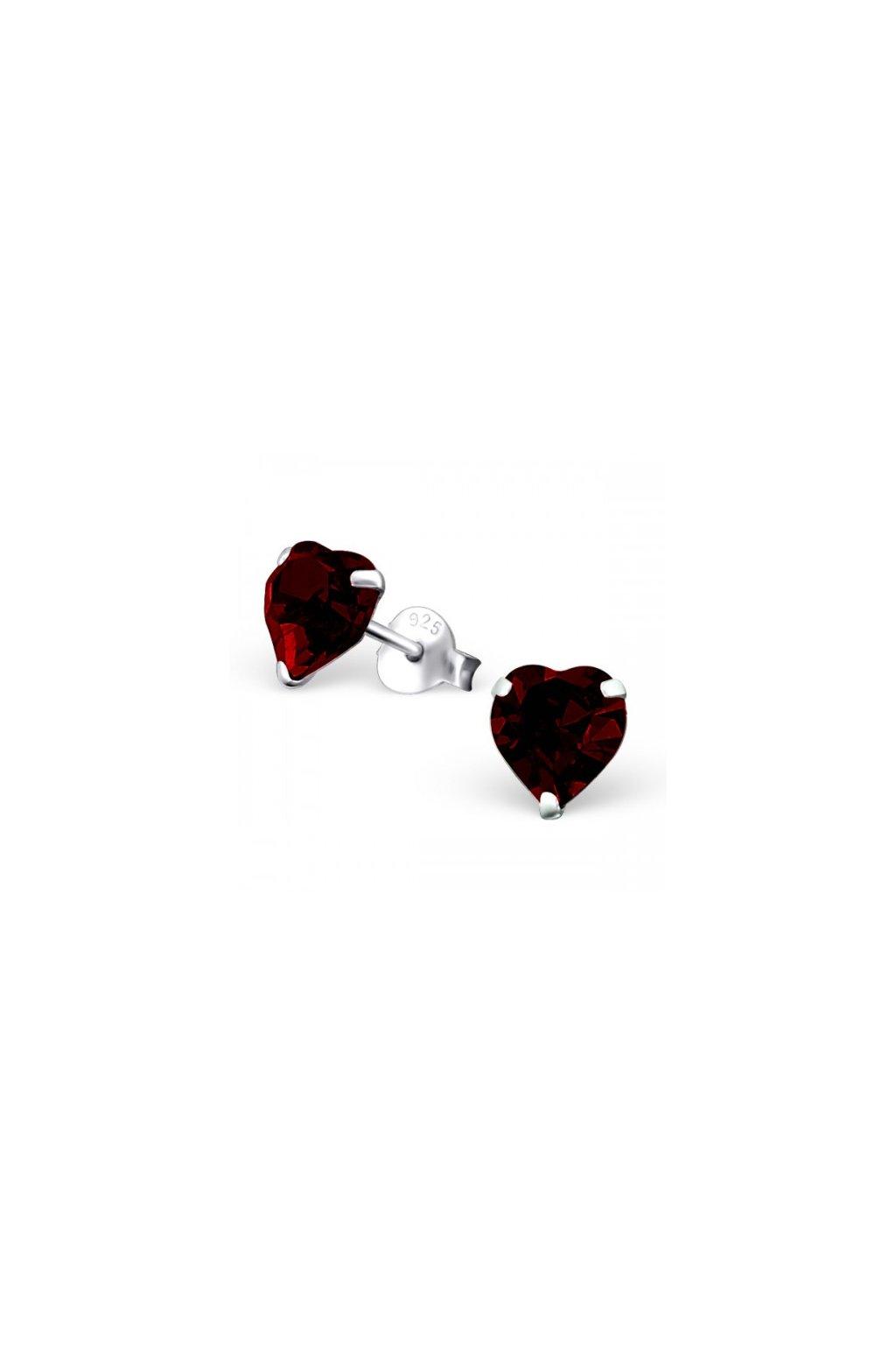 Strieborné náušnice srdcia - 925 cz granát MS20576