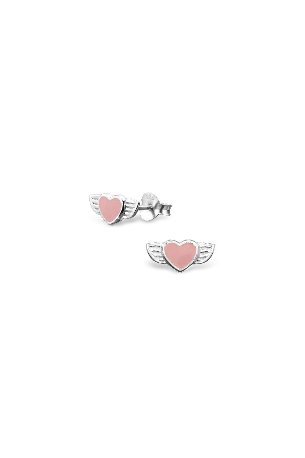 Strieborné náušnice srdcia s krídlami - 925 MS11645